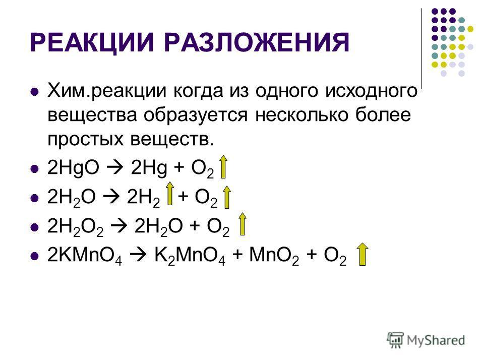 РЕАКЦИИ РАЗЛОЖЕНИЯ Хим.реакции когда из одного исходного вещества образуется несколько более простых веществ. 2НgO 2Hg + O 2 2H 2 O 2H 2 + O 2 2H 2 O 2 2H 2 O + O 2 2KMnO 4 K 2 MnO 4 + MnO 2 + O 2
