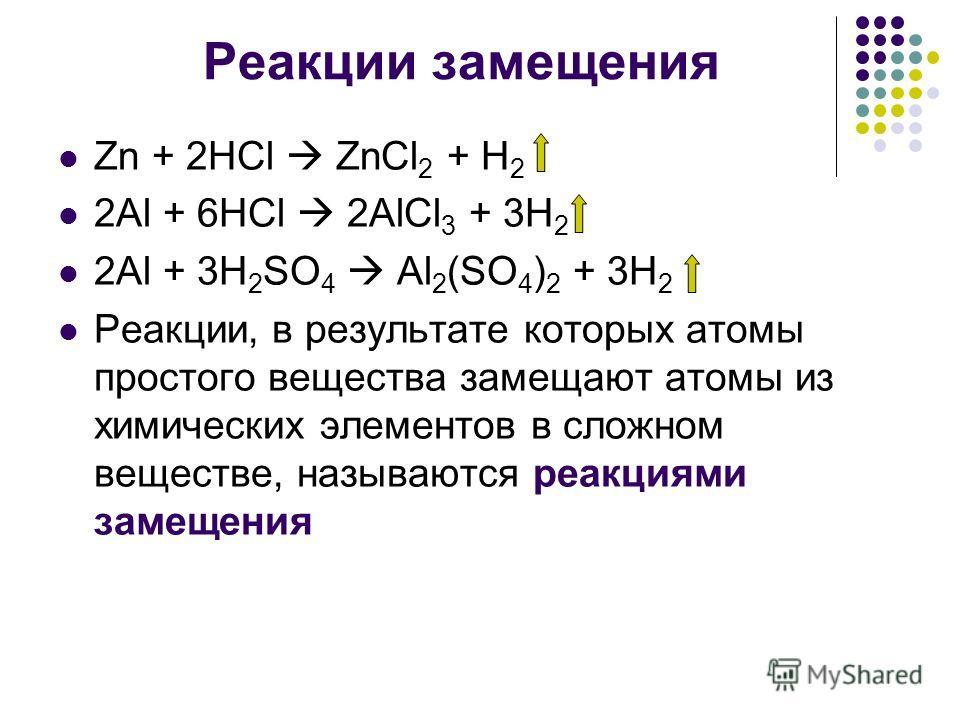 Реакции замещения Zn + 2HCl ZnCl 2 + H 2 2Al + 6HCl 2AlCl 3 + 3H 2 2Al + 3H 2 SO 4 Al 2 (SO 4 ) 2 + 3H 2 Реакции, в результате которых атомы простого вещества замещают атомы из химических элементов в сложном веществе, называются реакциями замещения
