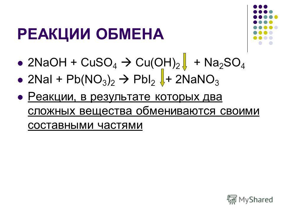 РЕАКЦИИ ОБМЕНА 2NaOH + CuSO 4 Cu(OH) 2 + Na 2 SO 4 2NaI + Pb(NO 3 ) 2 PbI 2 + 2NaNO 3 Реакции, в результате которых два сложных вещества обмениваются своими составными частями