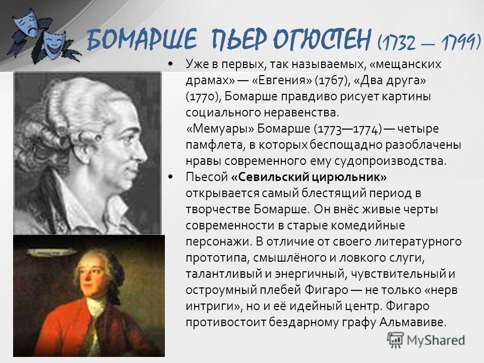 БОМАРШЕ ПЬЕР ОГЮСТЕН (1732 1799) Уже в первых, так называемых, «мещанских драмах» «Евгения» (1767), «Два друга» (1770), Бомарше правдиво рисует картины социального неравенства. «Мемуары» Бомарше (17731774) четыре памфлета, в которых беспощадно разобл