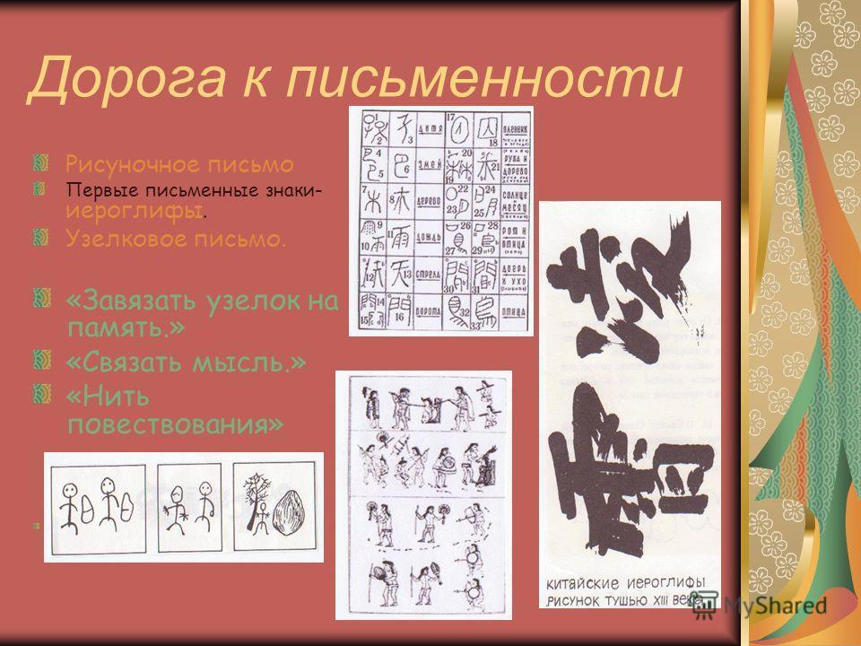 Дорога к письменности Рисуночное письмо Первые письменные знаки- иероглифы. Узелковое письмо. «Завязать узелок на память.» «Связать мысль.» «Нить повествования»