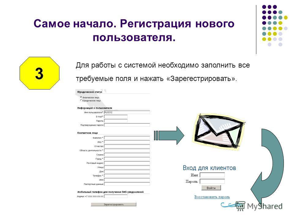 Самое начало. Регистрация нового пользователя. 3 Для работы с системой необходимо заполнить все требуемые поля и нажать «Зарегестрировать».