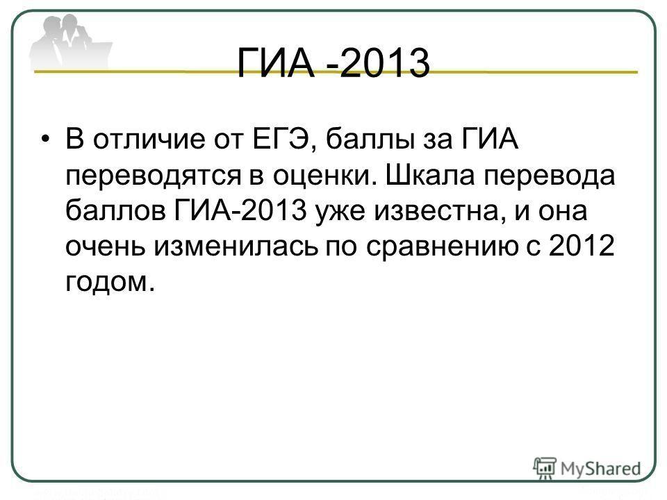 ГИА -2013 В отличие от ЕГЭ, баллы за ГИА переводятся в оценки. Шкала перевода баллов ГИА-2013 уже известна, и она очень изменилась по сравнению с 2012 годом.