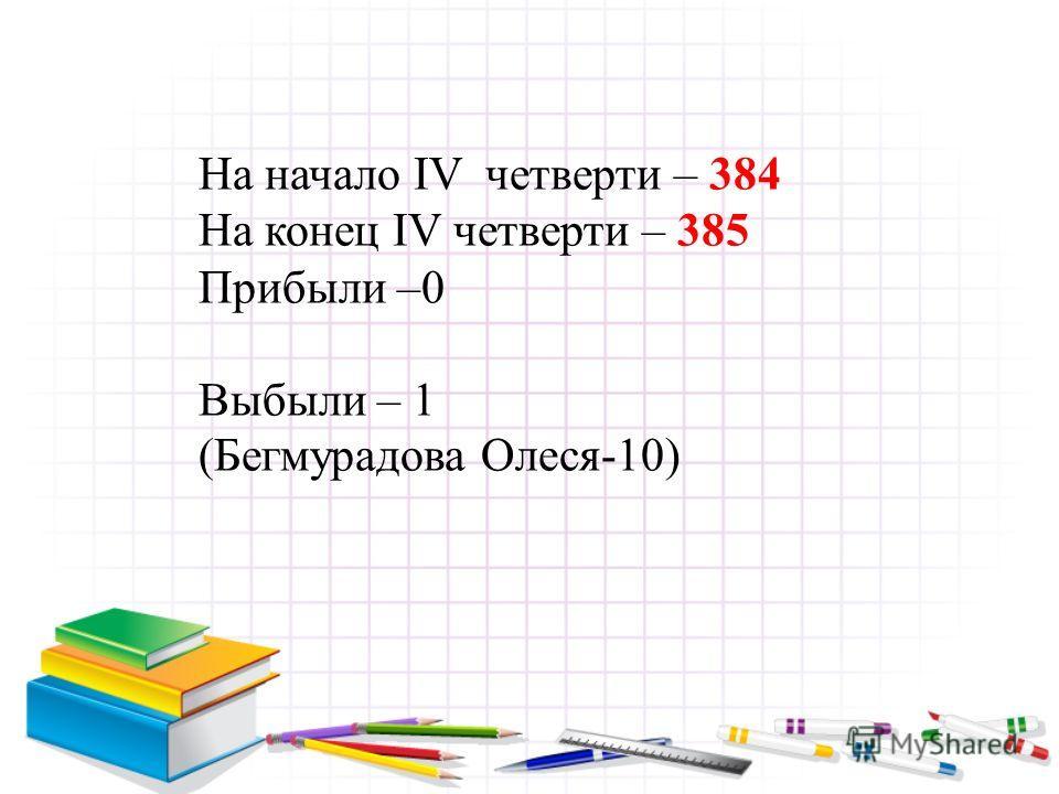 На начало IV четверти – 384 На конец IV четверти – 385 Прибыли –0 Выбыли – 1 (Бегмурадова Олеся-10)