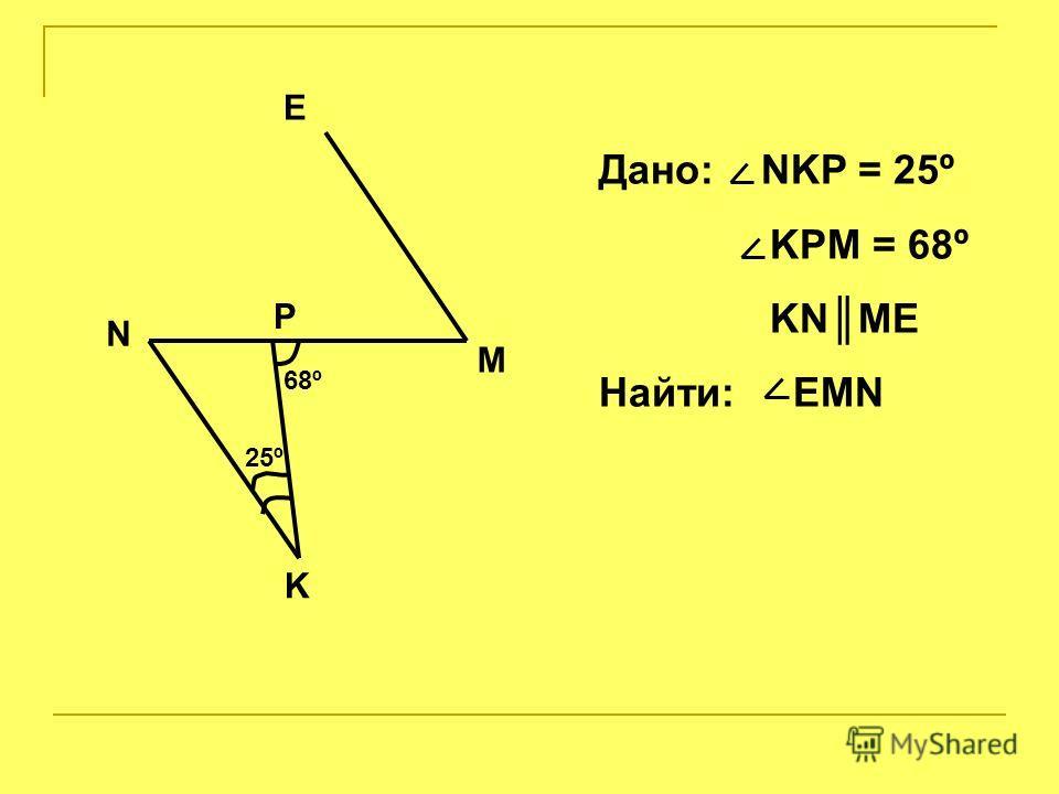 M 25º 68º N K P E Дано: NKP = 25º KPM = 68º KNME Найти: EMN