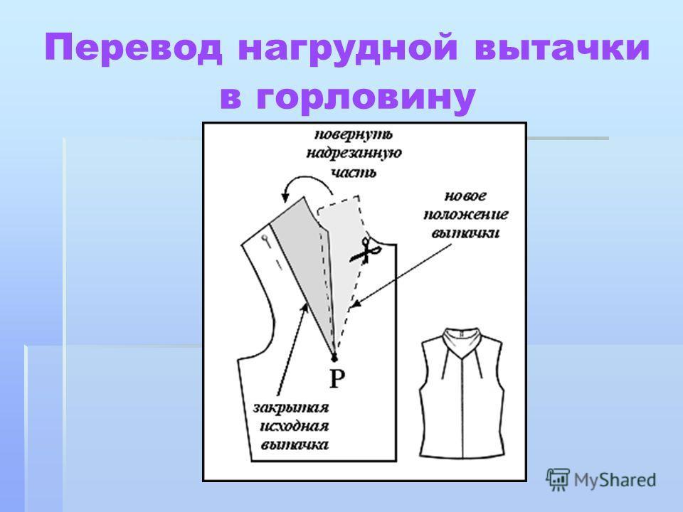 Перевод нагрудной вытачки в горловину
