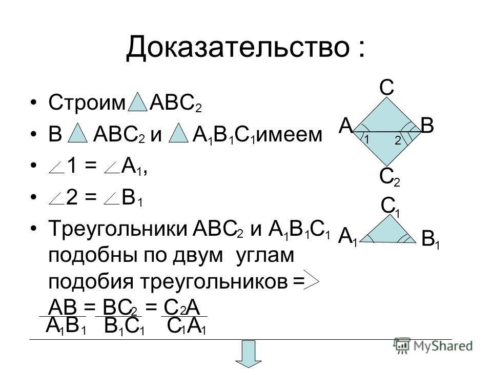 Доказательство : Строим ABC В ABC и A B C имеем 1 = A, 2 = B Треугольники ABC и A B C подобны по двум углам подобия треугольников = AB = BC = C A A C C B C AB C A B 2 2 2 2 1 2 1 1 1 1 1 1 1 1 1 2 1 1 2 1 1 1 1 1 1 B C A