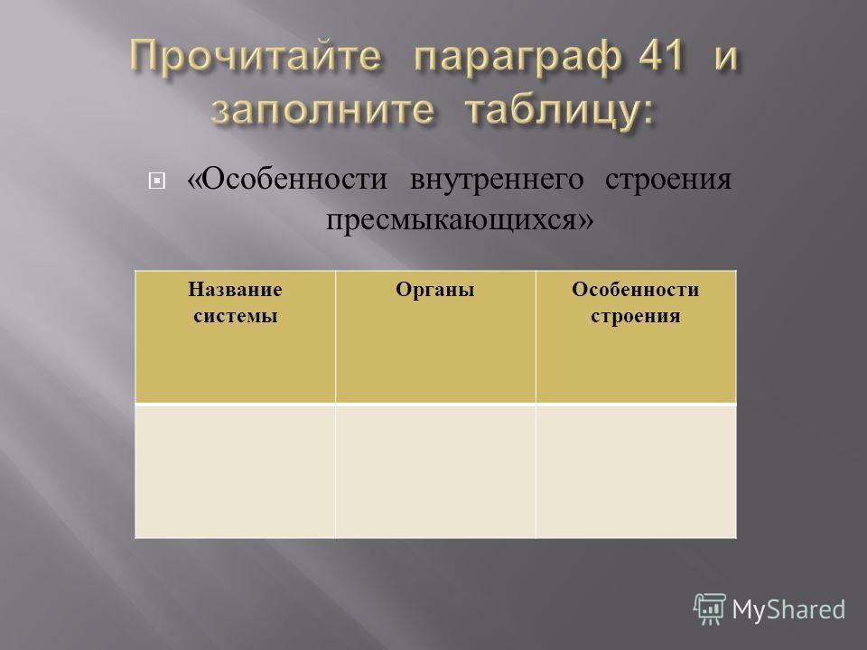 « Особенности внутреннего строения пресмыкающихся » Название системы ОрганыОсобенности строения