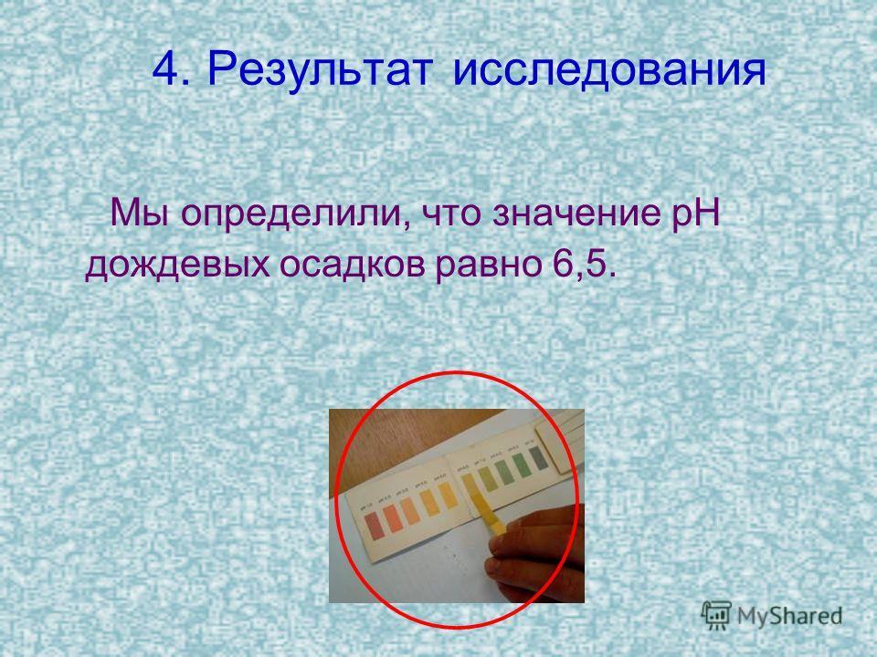 4. Результат исследования Мы определили, что значение pH дождевых осадков равно 6,5.
