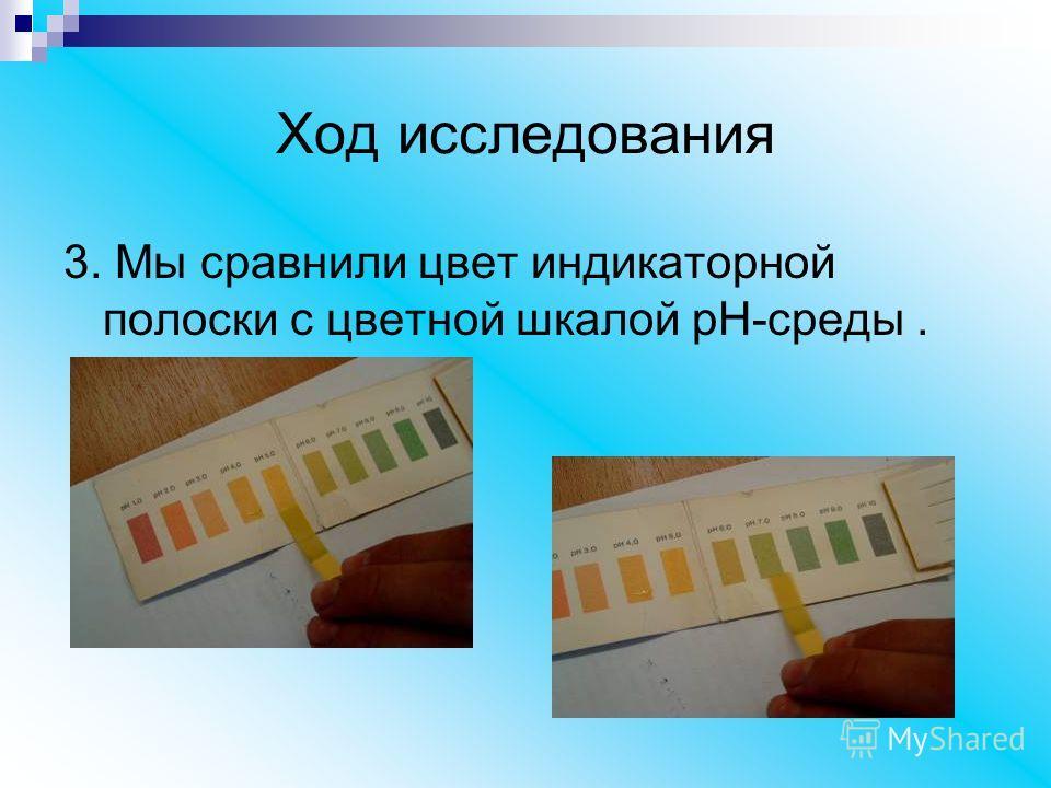 Ход исследования 3. Мы сравнили цвет индикаторной полоски с цветной шкалой рН-среды.