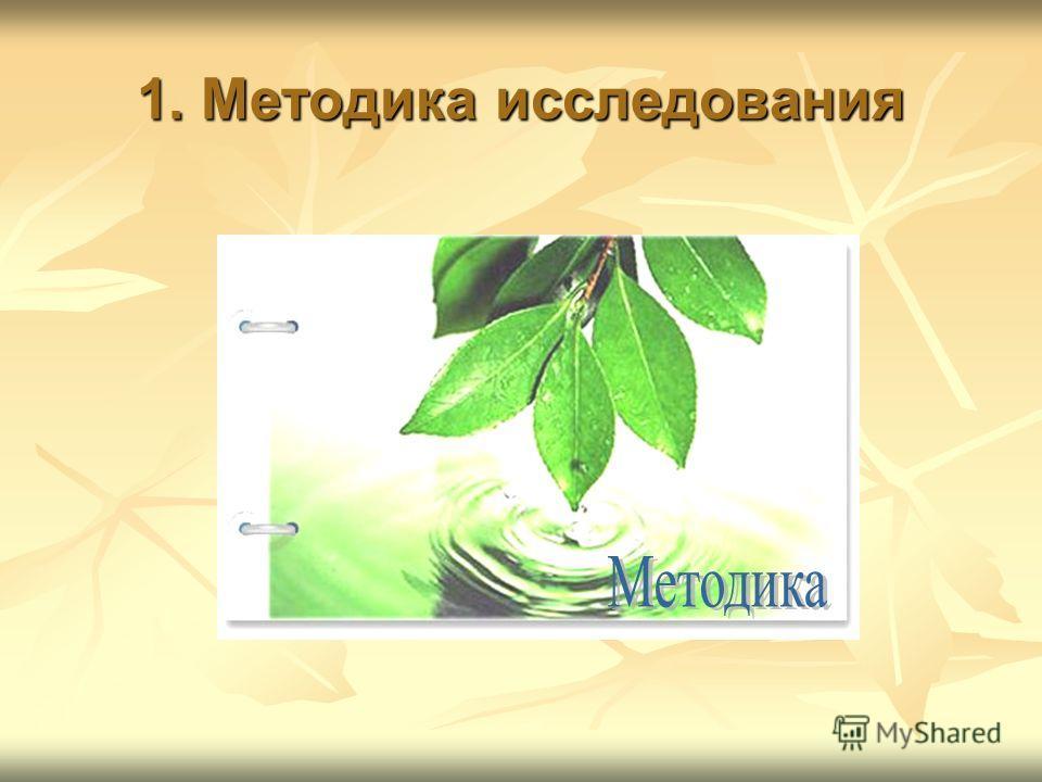 1. Методика исследования