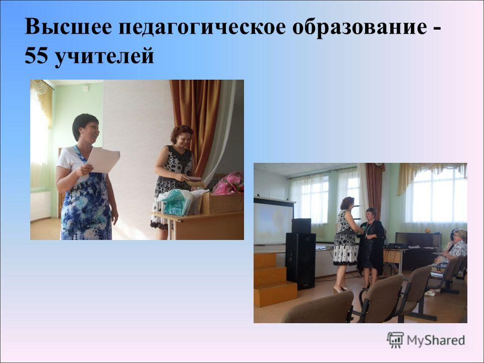 Высшее педагогическое образование - 55 учителей