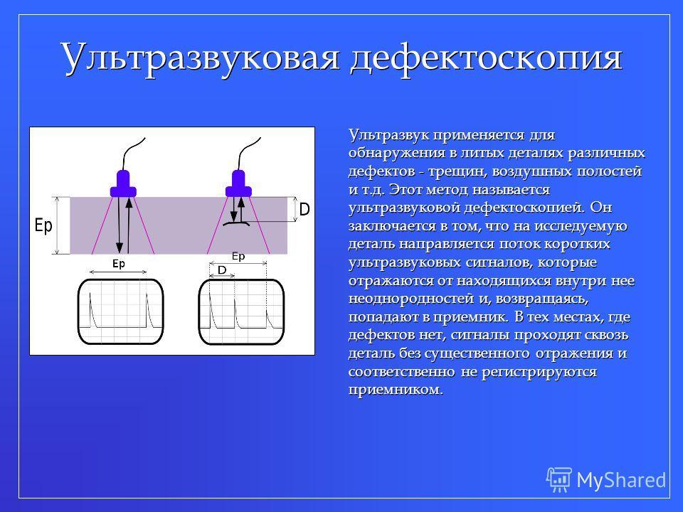 Ультразвуковая дефектоскопия Ультразвук применяется для обнаружения в литых деталях различных дефектов - трещин, воздушных полостей и т.д. Этот метод называется ультразвуковой дефектоскопией. Он заключается в том, что на исследуемую деталь направляет