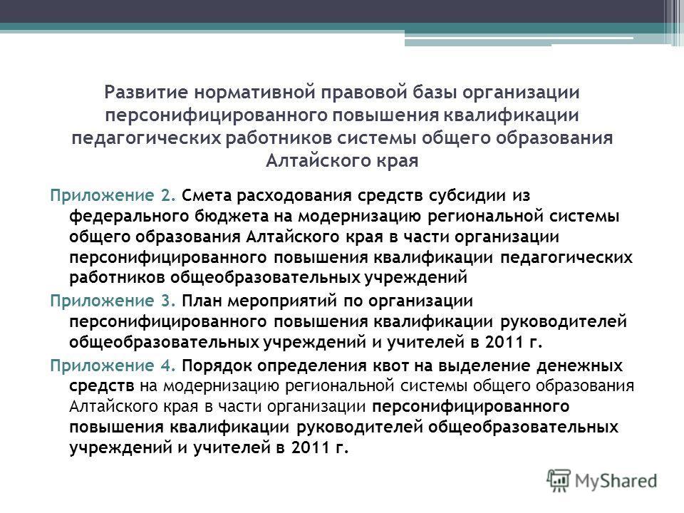 Развитие нормативной правовой базы организации персонифицированного повышения квалификации педагогических работников системы общего образования Алтайского края Приложение 2. Смета расходования средств субсидии из федерального бюджета на модернизацию