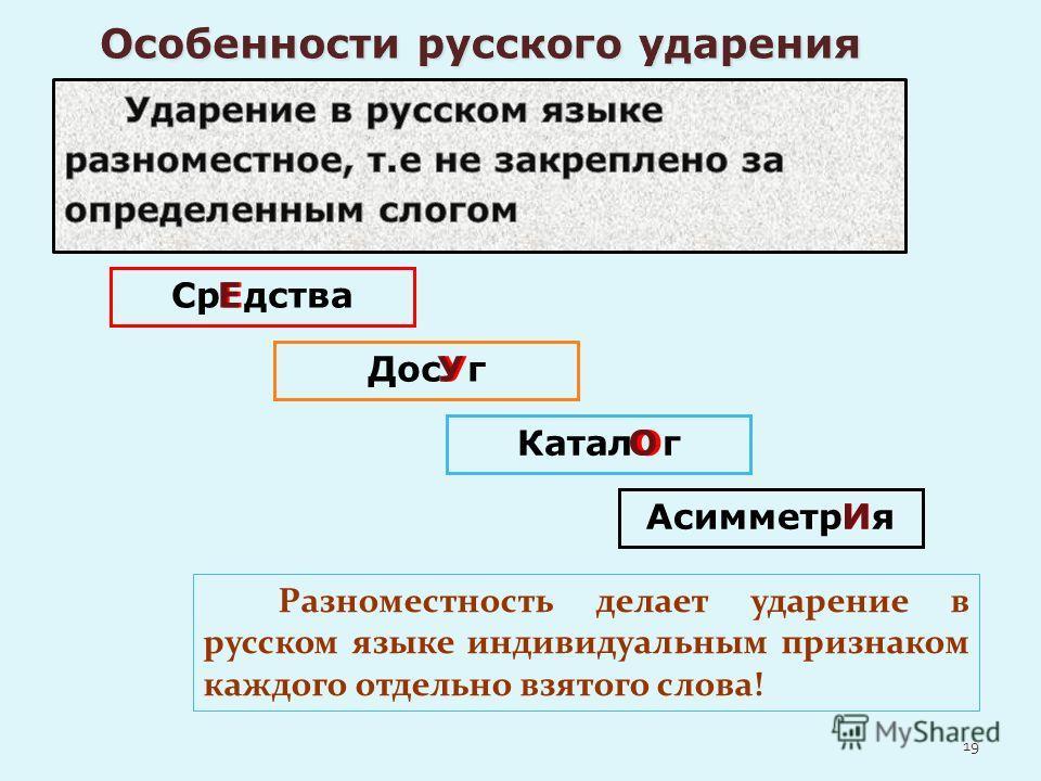 СрЕдства ДосУг КаталОг АсимметрИя Разноместность делает ударение в русском языке индивидуальным признаком каждого отдельно взятого слова! Е У О И 19