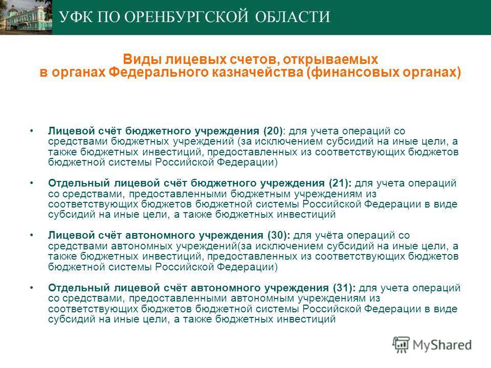 Лицевой счёт бюджетного учреждения (20): для учета операций со средствами бюджетных учреждений (за исключением субсидий на иные цели, а также бюджетных инвестиций, предоставленных из соответствующих бюджетов бюджетной системы Российской Федерации) От