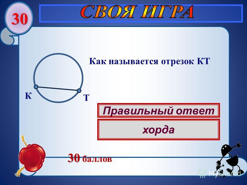 30 Правильный ответ хорда Как называется отрезок КТ К Т 30 30 баллов