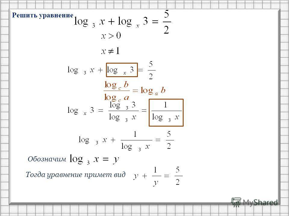 Решить уравнение Обозначим Тогда уравнение примет вид