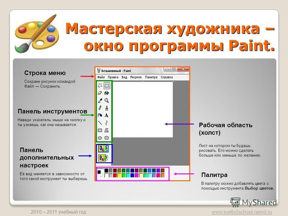 www.svetly5school.narod.ru 2010 – 2011 учебный год Мастерская художника – окно программы Paint. Панель инструментов Наведи указатель мыши на кнопку и ты узнаешь как она называется. Панель дополнительных настроек Её вид меняется в зависимости от того