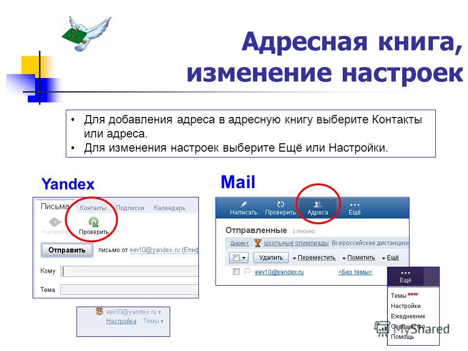 Адресная книга, изменение настроек Yandex Mail Для добавления адреса в адресную книгу выберите Контакты или адреса. Для изменения настроек выберите Ещё или Настройки.