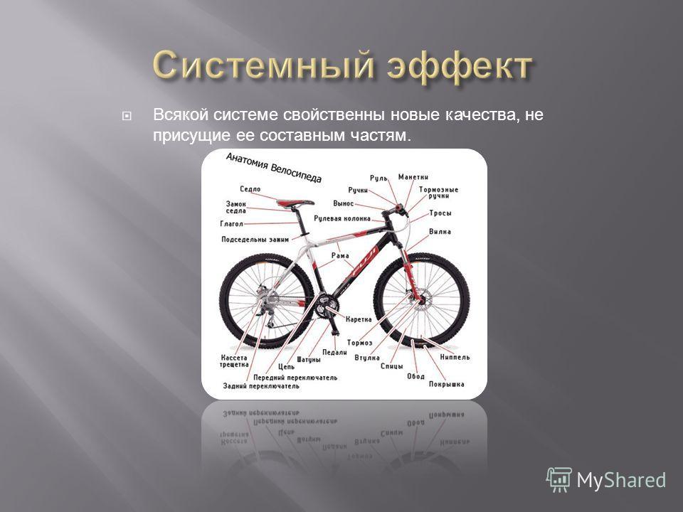 Всякой системе свойственны новые качества, не присущие ее составным частям.