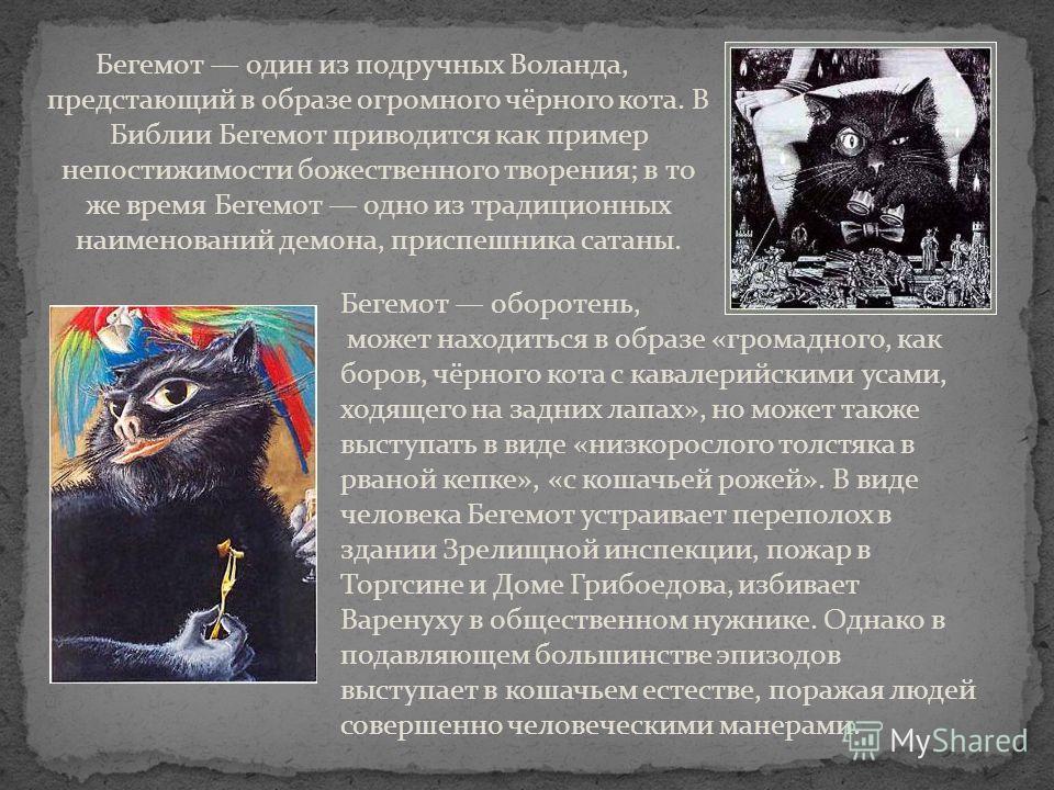 Бегемот один из подручных Воланда, предстающий в образе огромного чёрного кота. В Библии Бегемот приводится как пример непостижимости божественного творения; в то же время Бегемот одно из традиционных наименований демона, приспешника сатаны. Бегемот
