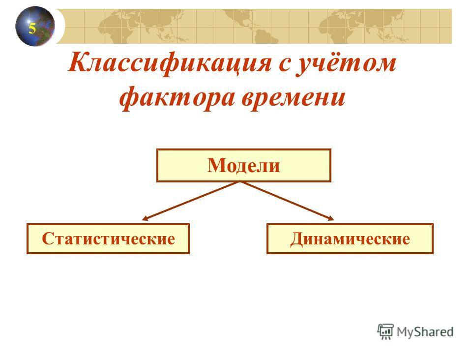 Классификация с учётом фактора времени Модели СтатистическиеДинамические 5