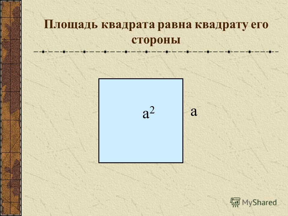 Площадь квадрата равна квадрату его стороны а а2а2