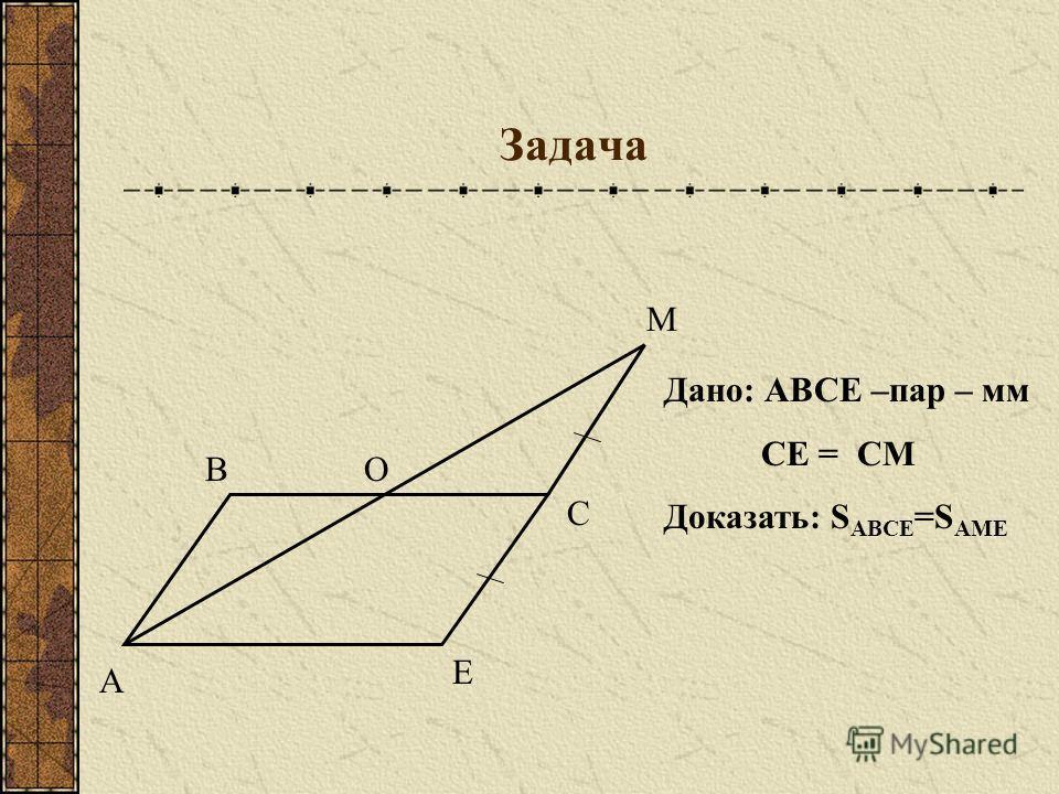 Задача В С Е М О Дано: АВСЕ –пар – мм СЕ = СМ Доказать: S АВСЕ =S АМЕ А