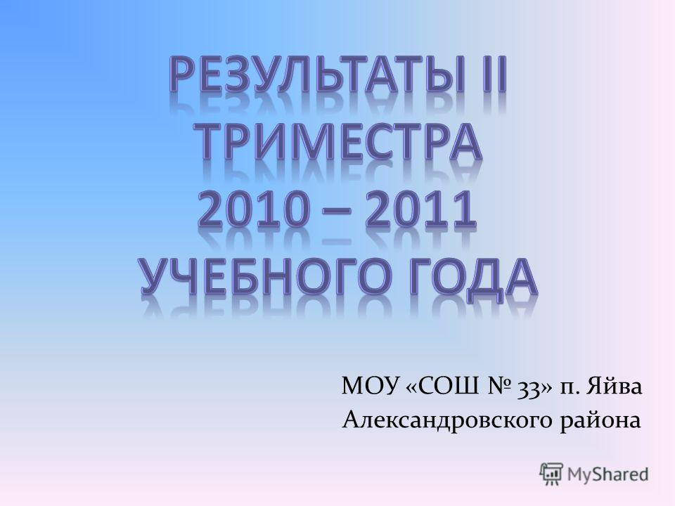 МОУ «СОШ 33» п. Яйва Александровского района