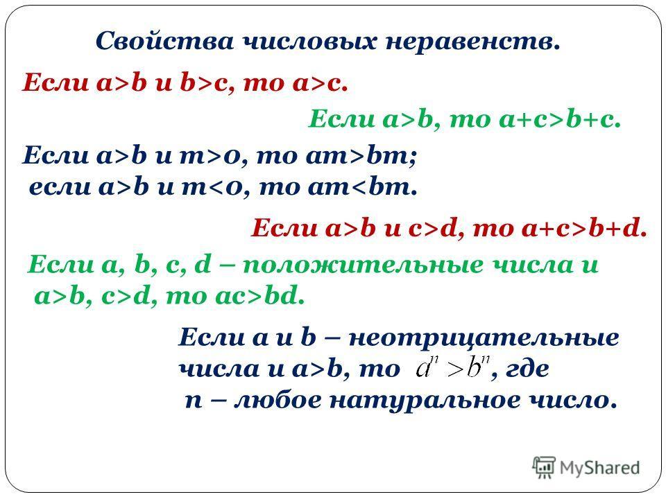 Свойства числовых неравенств. Если a>b и b>c, то a>c. Если a>b, то a+c>b+c. Если a>b и m>0, то am>bm; если a>b и md, то a+c>b+d. Если a, b, c, d – положительные числа и a>b, c>d, то ac>bd. Если a и b – неотрицательные числа и a>b, то, где n – любое н