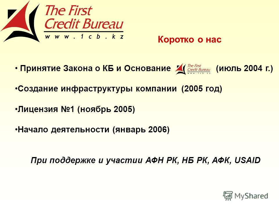 Принятие Закона о КБ и Основание (июль 2004 г.) Создание инфраструктуры компании (2005 год) Лицензия 1 (ноябрь 2005) Начало деятельности (январь 2006) При поддержке и участии АФН РК, НБ РК, АФК, USAID Коротко о нас