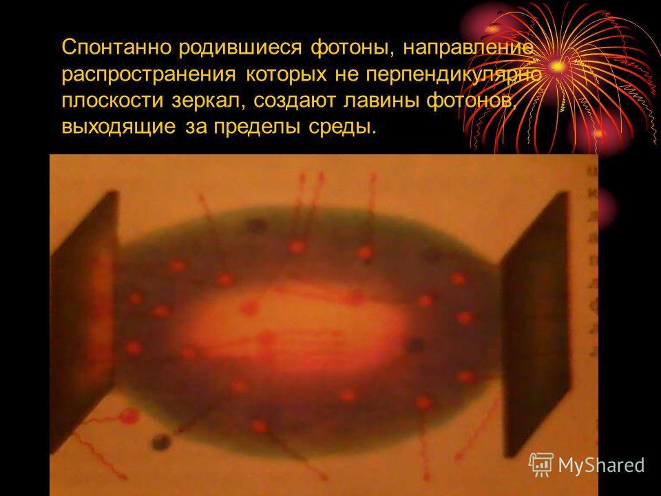 Спонтанно родившиеся фотоны, направление распространения которых не перпендикулярно плоскости зеркал, создают лавины фотонов, выходящие за пределы среды.