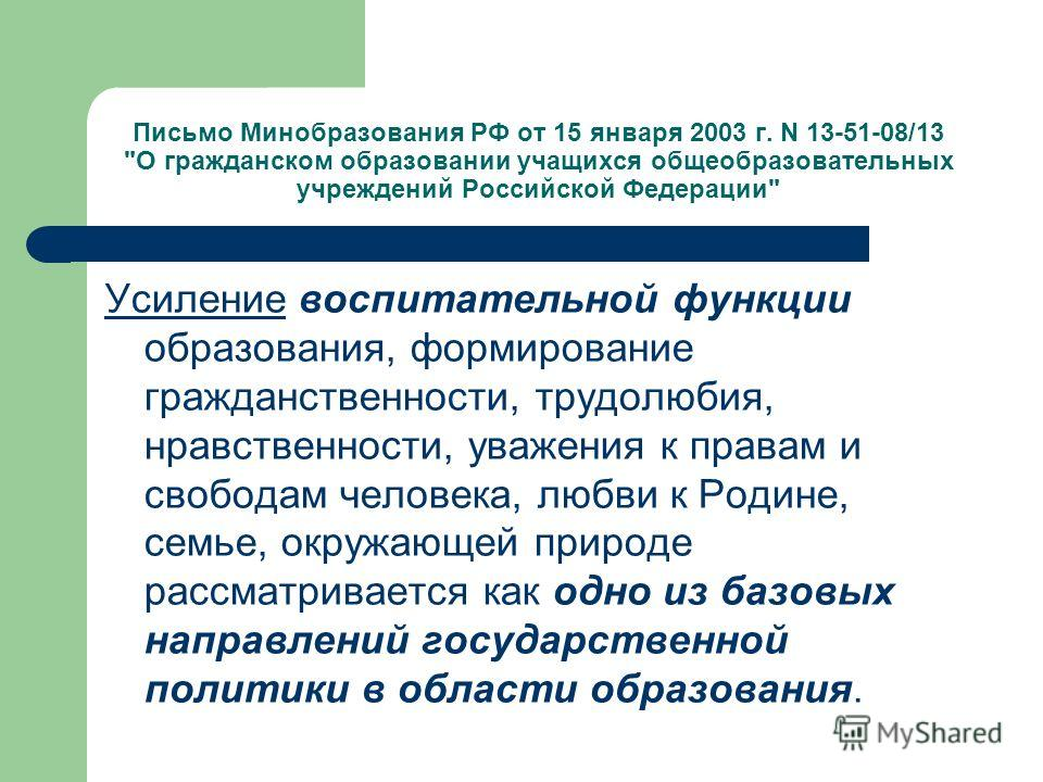 Письмо Минобразования РФ от 15 января 2003 г. N 13-51-08/13
