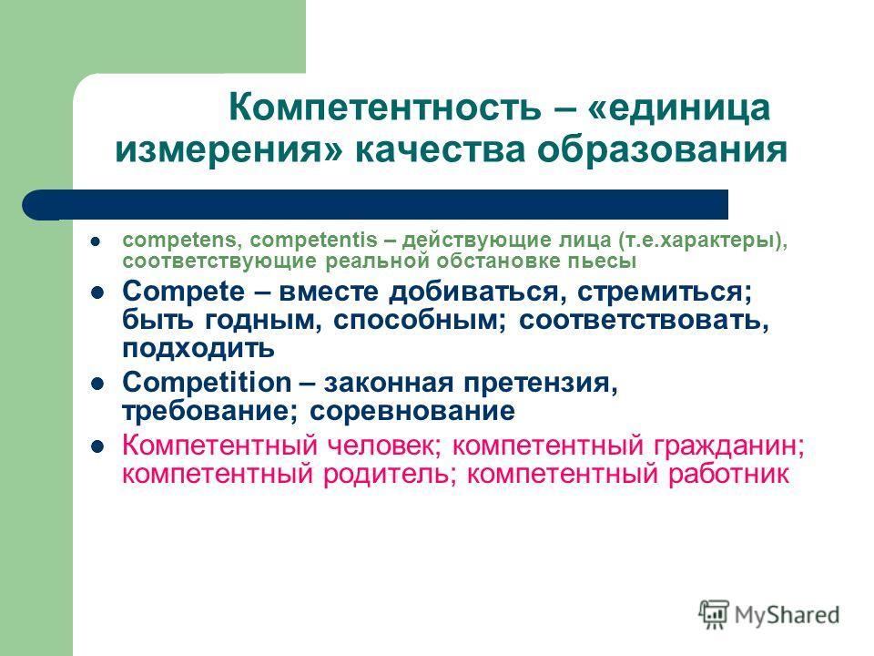 Компетентность – «единица измерения» качества образования competens, competentis – действующие лица (т.е.характеры), соответствующие реальной обстановке пьесы Compete – вместе добиваться, стремиться; быть годным, способным; соответствовать, подходить