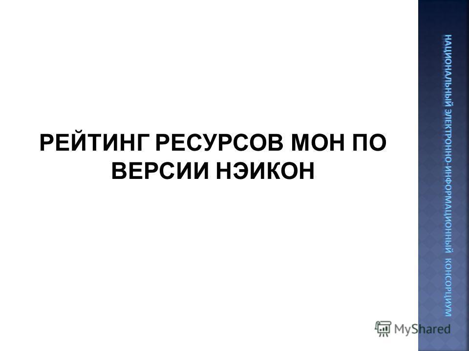 РЕЙТИНГ РЕСУРСОВ МОН ПО ВЕРСИИ НЭИКОН