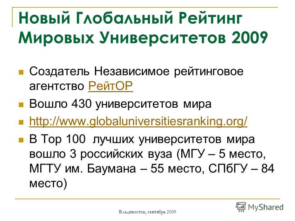 Владивосток, сентябрь 2009 Новый Глобальный Рейтинг Мировых Университетов 2009 Создатель Независимое рейтинговое агентство РейтОРРейтОР Вошло 430 университетов мира http://www.globaluniversitiesranking.org/ В Top 100 лучших университетов мира вошло 3