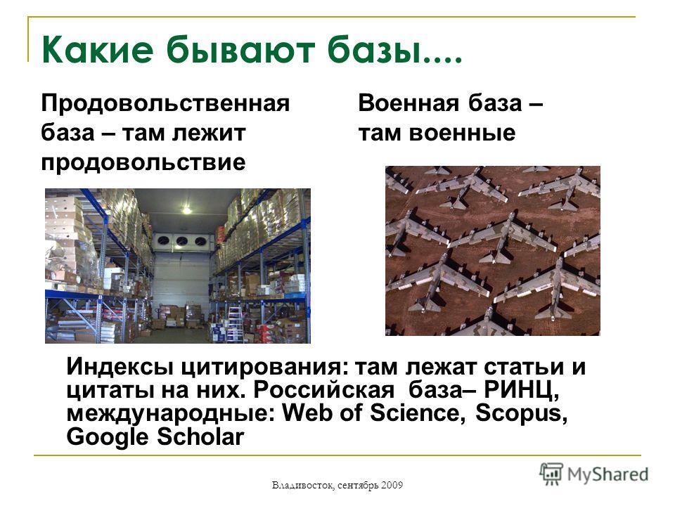 Владивосток, сентябрь 2009 Какие бывают базы.... Продовольственная Военная база – база – там лежит там военные продовольствие Индексы цитирования: там лежат статьи и цитаты на них. Российская база– РИНЦ, международные: Web of Science, Scopus, Google