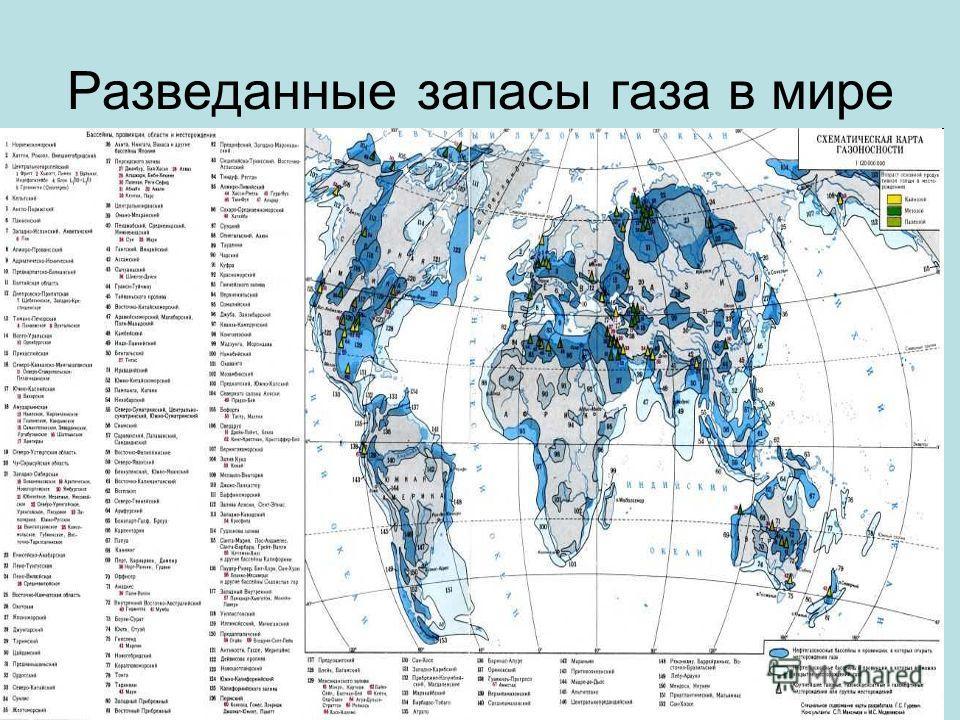 Pазведанные запасы газа в мире