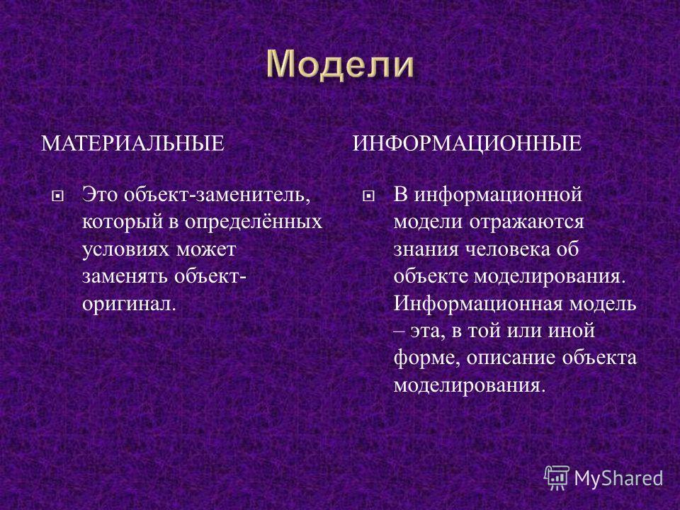 МАТЕРИАЛЬНЫЕИНФОРМАЦИОННЫЕ Это объект - заменитель, который в определённых условиях может заменять объект - оригинал. В информационной модели отражаются знания человека об объекте моделирования. Информационная модель – эта, в той или иной форме, опис