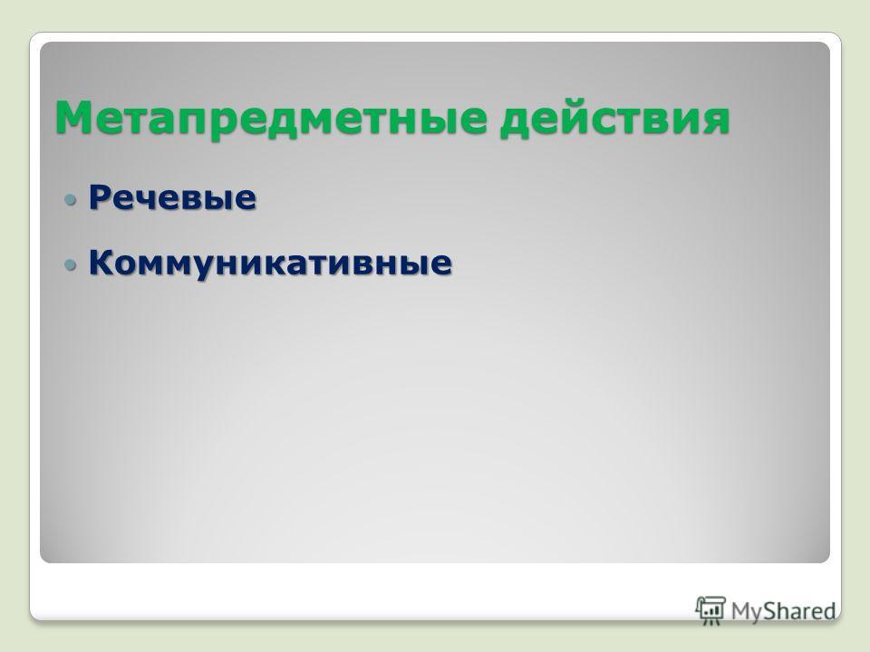 Метапредметные действия Речевые Речевые Коммуникативные Коммуникативные