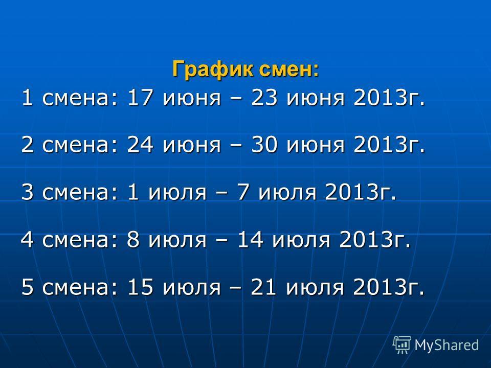 График смен: 1 смена: 17 июня – 23 июня 2013г. 2 смена: 24 июня – 30 июня 2013г. 3 смена: 1 июля – 7 июля 2013г. 4 смена: 8 июля – 14 июля 2013г. 5 смена: 15 июля – 21 июля 2013г.