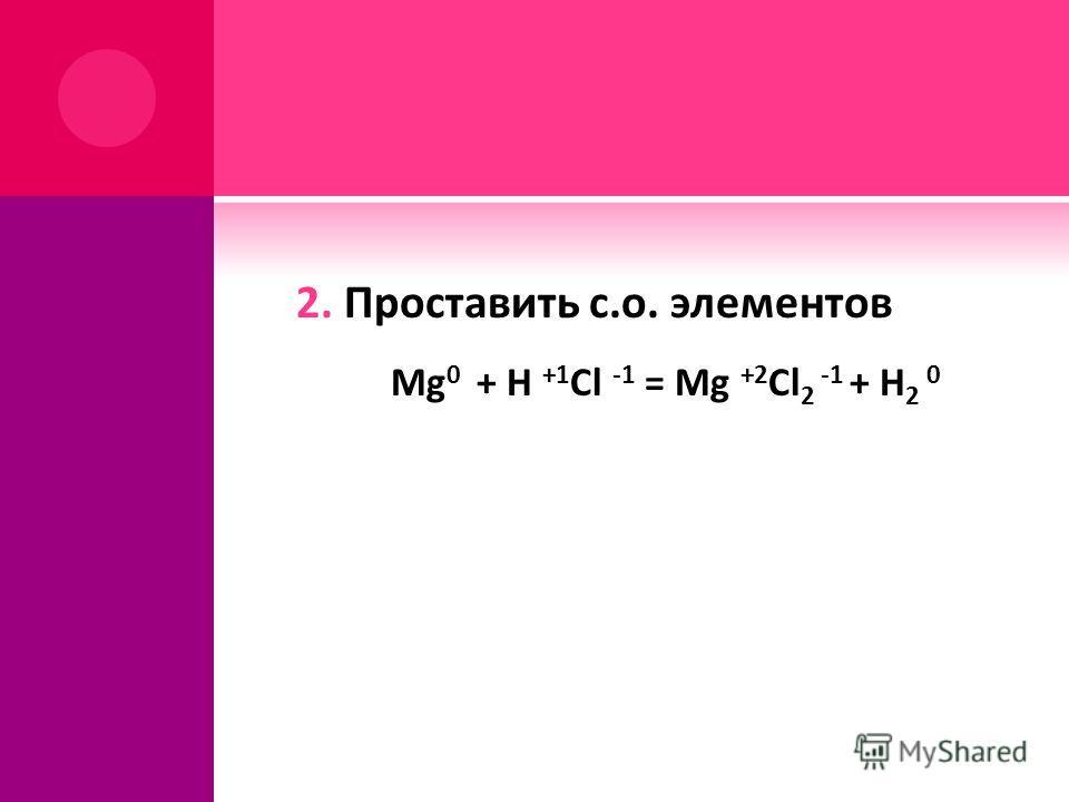 2. Проставить с.о. элементов Mg 0 + H +1 Cl -1 = Mg +2 Cl 2 -1 + H 2 0