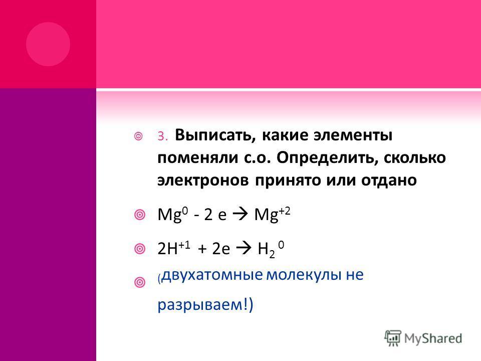 3. Выписать, какие элементы поменяли с.о. Определить, сколько электронов принято или отдано Mg 0 - 2 e Mg +2 2H +1 + 2e H 2 0 ( двухатомные молекулы не разрываем!)