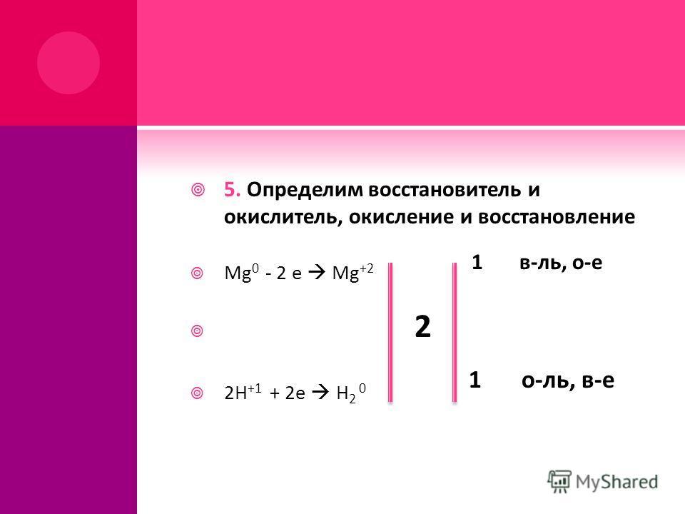 5. Определим восстановитель и окислитель, окисление и восстановление Mg 0 - 2 e Mg +2 1 в-ль, о-е 2 2H +1 + 2e H 2 0 1 о-ль, в-е