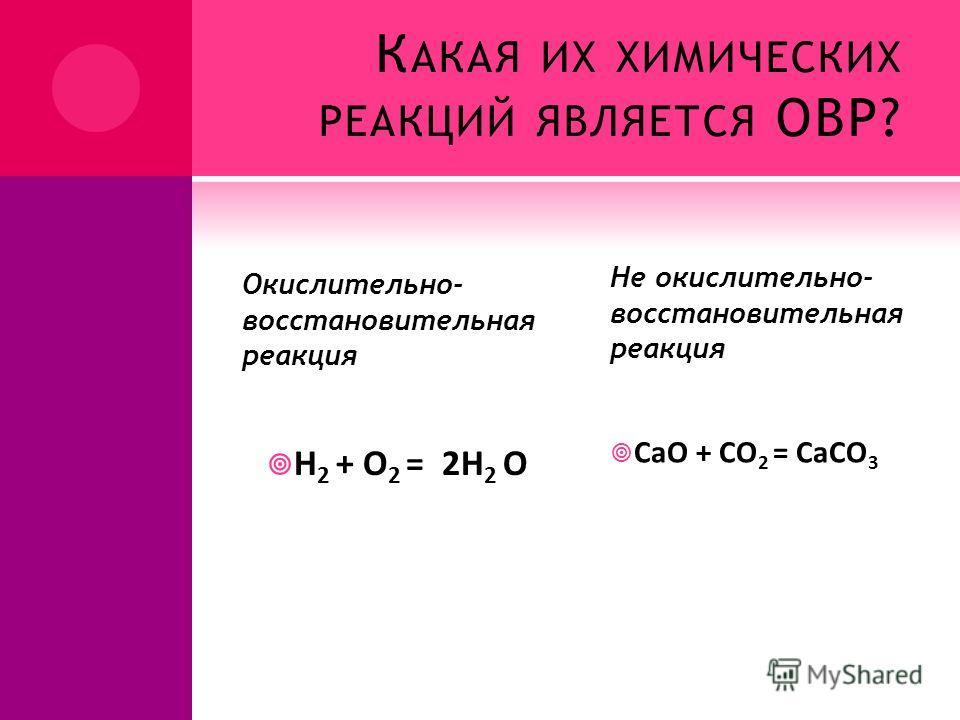 К АКАЯ ИХ ХИМИЧЕСКИХ РЕАКЦИЙ ЯВЛЯЕТСЯ ОВР? Окислительно- восстановительная реакция H 2 + O 2 = 2H 2 O Не окислительно- восстановительная реакция CaO + CO 2 = CaCO 3
