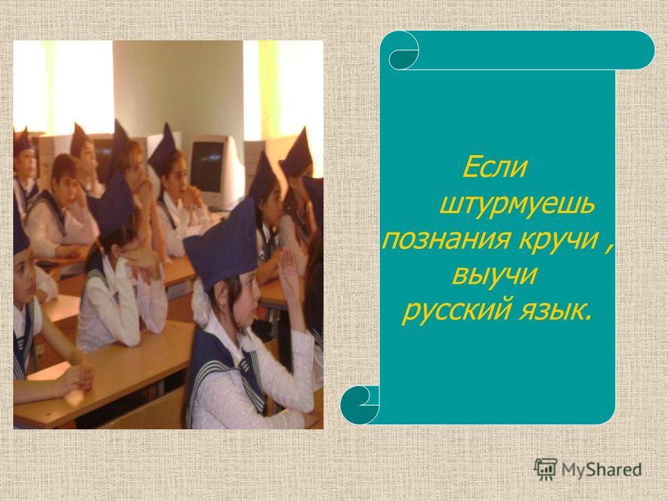 Если штурмуешь познания кручи, выучи русский язык.