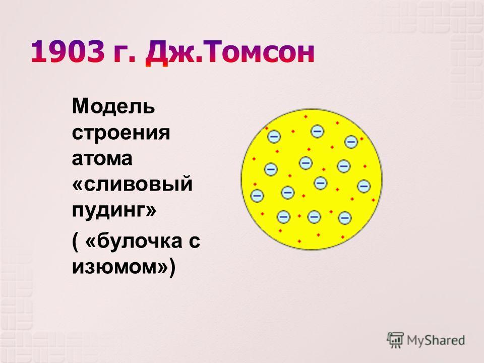 Модель строения атома « сливовый пудинг » ( « булочка с изюмом »)