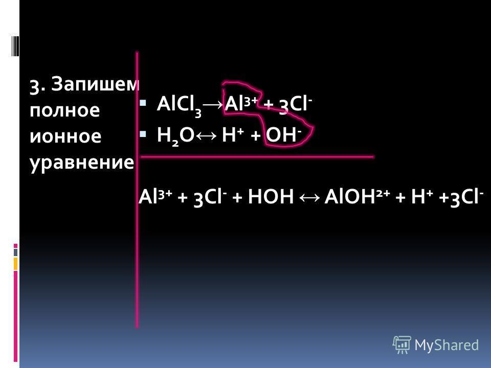3. Запишем полное ионное уравнение AlCl 3 Al 3+ + 3Cl - H 2 O H + + OH - Al 3+ + 3Cl - + HOH AlOH 2+ + H + +3Cl -
