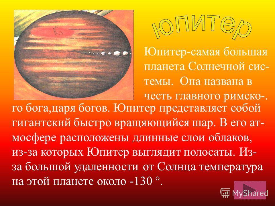 Эта планета намного меньше Земли, по разме- рам и массе она схоже с Луной. Спутников у нее нет. Меркурий – самая близкая к Солнцу планета. Из-за близости к Солнцу поверх- ность планеты нагревается до +400°.